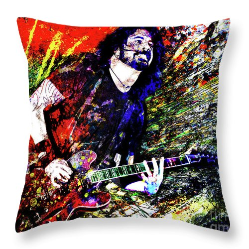 Dave Grohl Throw Pillow featuring the mixed media Dave Grohl Art by Ryan Rock Artist