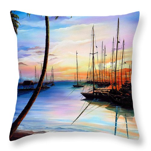 Ocean Painting Seascape Yacht Painting Sailboat Painting Sunset Painting Tropical Painting Caribbean Painting Yacht Painting At The End Of A Yachting Regatta At Pigeon Point Tobago Painting Throw Pillow featuring the painting DAYS END Yachting Regatta At Pigeon Point Tobago by Karin Dawn Kelshall- Best