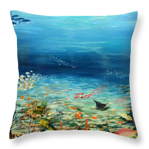 Ocean Painting Undersea Painting Coral Reef Painting Caribbean Painting Calypso Reef Painting Undersea Fishes Coral Reef Blue Sea Stingray Painting Tropical Reef Painting Tropical Painting Throw Pillow featuring the painting Deep Blue Dreaming by Karin Dawn Kelshall- Best