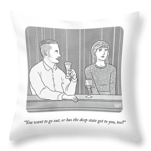 You Want To Go Out Throw Pillow featuring the drawing Deep State Dating by Ivan Ehlers