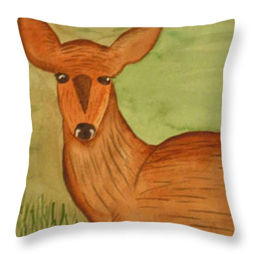 Deer Throw Pillow featuring the painting Deer on the Grass by Natalee Parochka