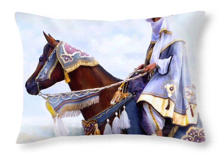 Horse Throw Pillow featuring the painting Desert Arabian Native Costume Horse And Girl Rider by Connie Moses