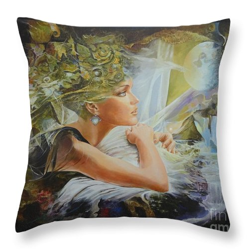 Figures Throw Pillow featuring the painting Destiny by Sinisa Saratlic