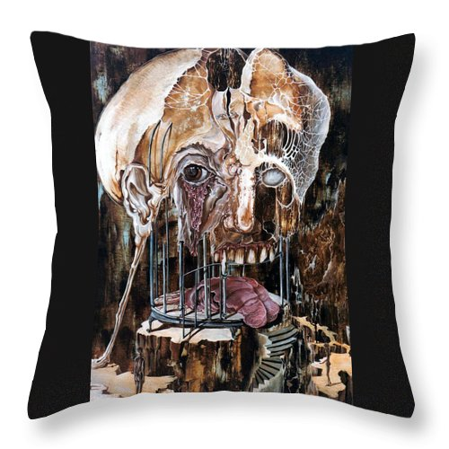 Surrealism Throw Pillow featuring the painting Deterioration Of Mind Over Matter by Otto Rapp