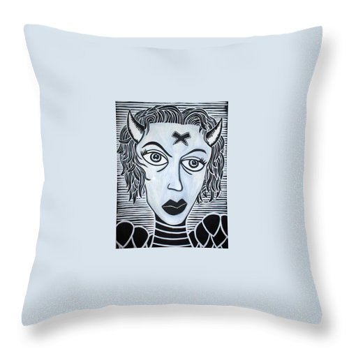 Throw Pillow featuring the painting Devil by Thomas Valentine