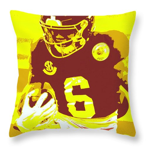 Devonta Smith Throw Pillow featuring the painting DeVonta Smith by Jack Bunds