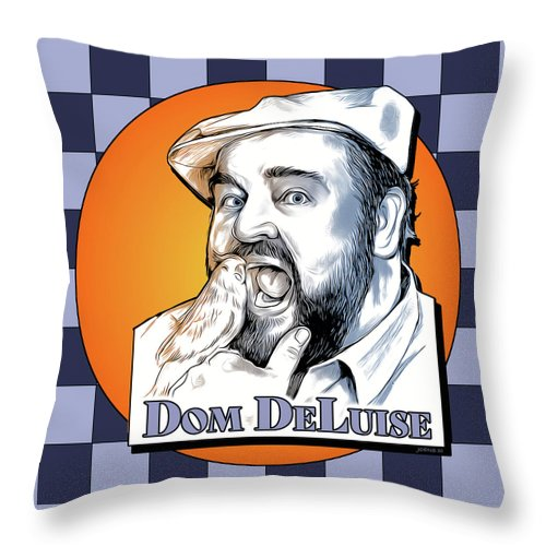Dom Deluise Throw Pillow featuring the digital art Dom and the Bird by Greg Joens