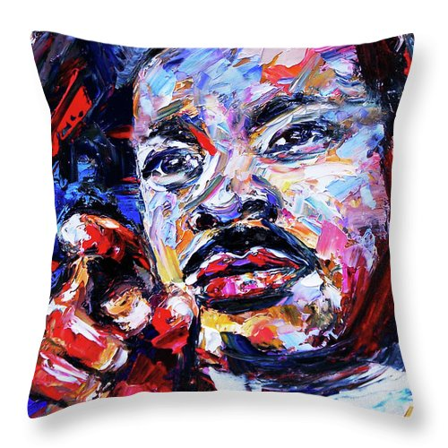Dr. King Throw Pillow featuring the painting Dr. Martin Luther King Jr. by Debra Hurd
