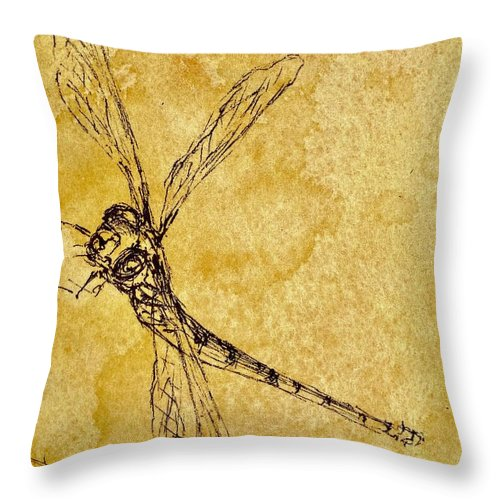 Dragonfly Throw Pillow featuring the mixed media Dragon Fly by Pete Maier