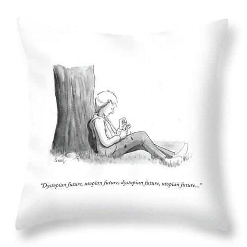 Dystopian Future Throw Pillow featuring the drawing Dystopian Utopian Future by Benjamin Schwartz