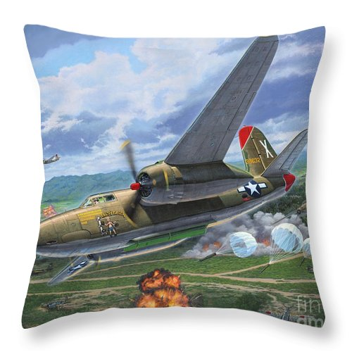 A-20 Throw Pillow featuring the painting Eager for Havoc by Stu Shepherd
