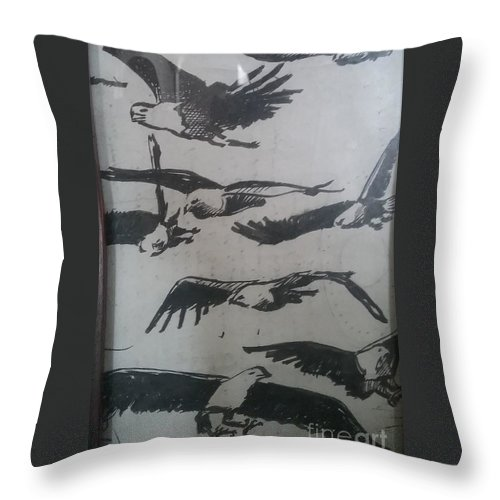 Eagles Throw Pillow featuring the drawing Eagles by Jude Darrien