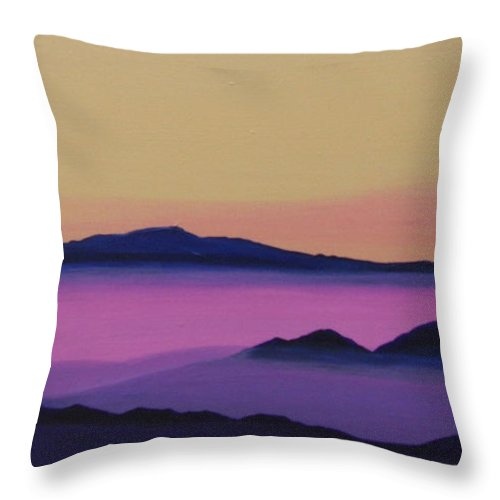 Mountains Throw Pillow featuring the painting Early Morning by Hunter Jay