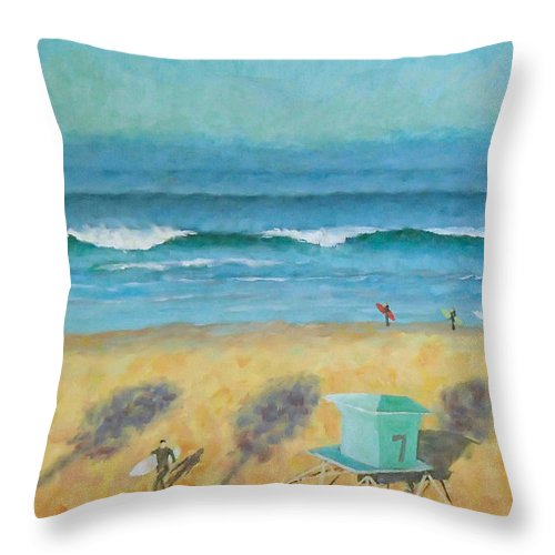 Life Guard Tower Throw Pillow featuring the painting Tower Number Seven by Philip Fleischer