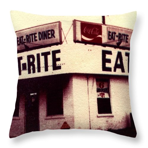 Polaroid Transfer Throw Pillow featuring the photograph Eat Rite by Jane Linders