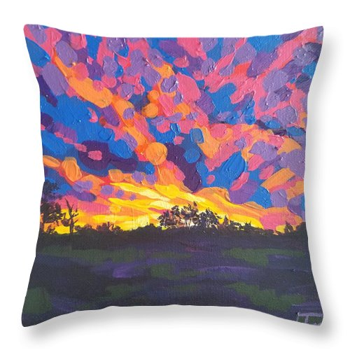 Bright Throw Pillow featuring the painting Ebullient Herald by Allison Fox