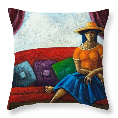 Puerto Rico Throw Pillow featuring the painting El Ultimo Romance Del Verano by Oscar Ortiz