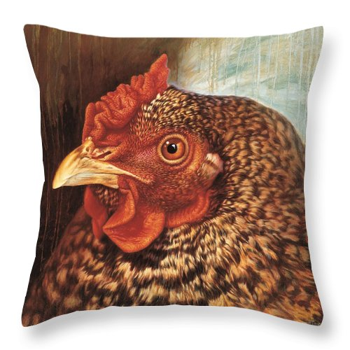 Chicken Throw Pillow featuring the painting Eleanor3 by Hans Droog