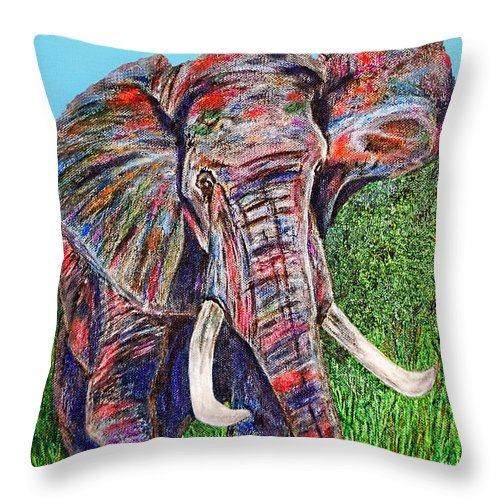 Elephant Throw Pillow featuring the painting Elephant Aura by Donna Proctor