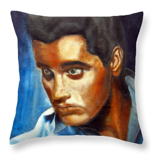 Elvis Throw Pillow featuring the painting Elvis Presley - moody blue by Tom Conway