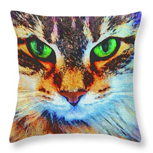 Emerald Gaze Throw Pillow featuring the digital art Emerald Gaze by John Robert Beck