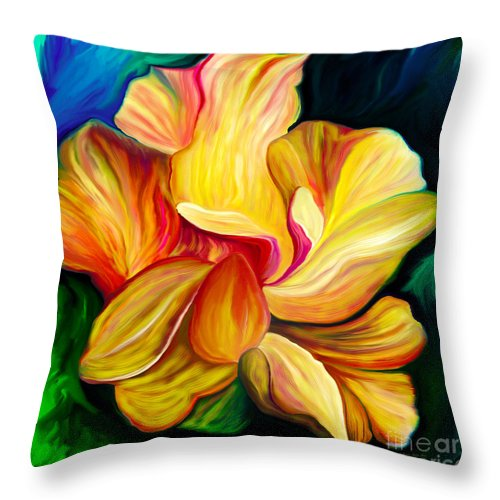 Hibiscus Painting Throw Pillow featuring the painting Emergence II by Patricia Griffin Brett
