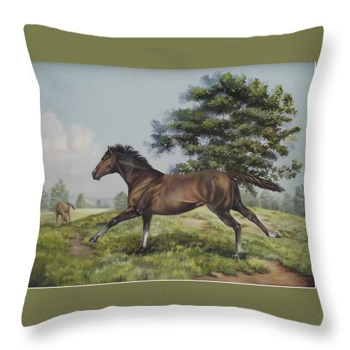 Horse In Field Throw Pillow featuring the painting Energy To Burn by Wanda Dansereau