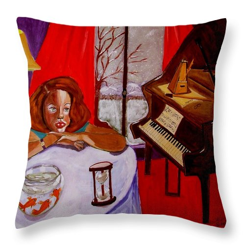 Hourglass Throw Pillow featuring the painting Entropiano by Rusty Gladdish