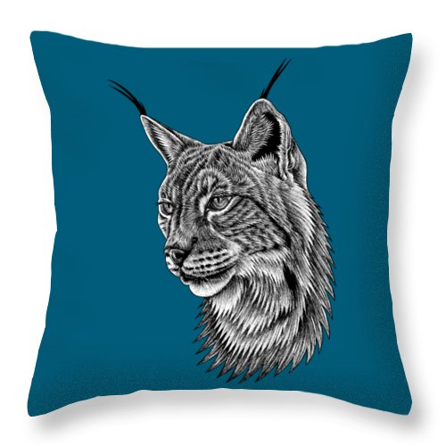 Lynx Throw Pillow featuring the drawing Eurasian lynx portrait by Loren Dowding