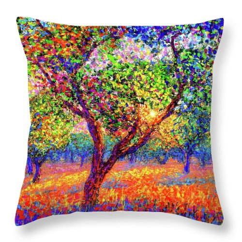 Floral Throw Pillow featuring the painting Evening Poppies by Jane Small