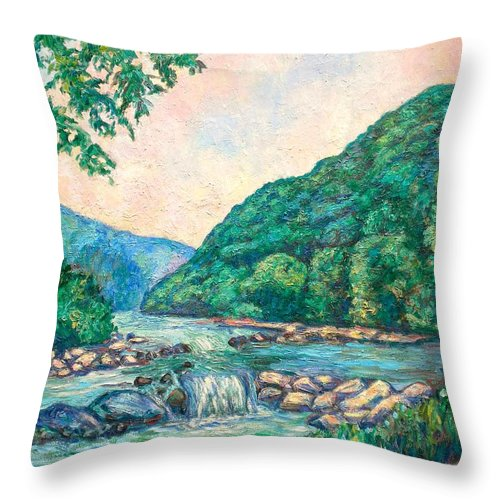 Landscape Throw Pillow featuring the painting Evening River Scene by Kendall Kessler