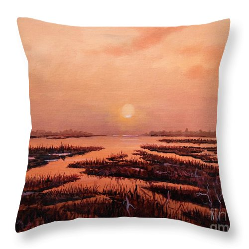 Marsh Throw Pillow featuring the painting Evening Time by Sinisa Saratlic
