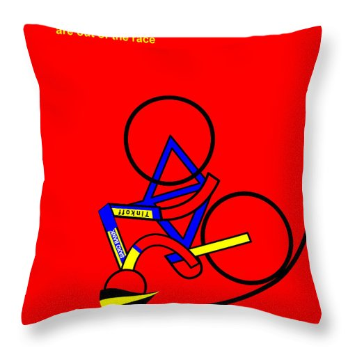 Exit Alberto Throw Pillow featuring the mixed media Exit Alberto by Asbjorn Lonvig