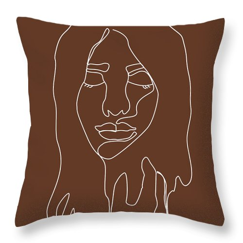 Face 02 Abstract Minimal Line Art Portrait Of A Girl Single Stroke Portrait Terracotta Brown Throw Pillow For Sale By Studio Grafiikka