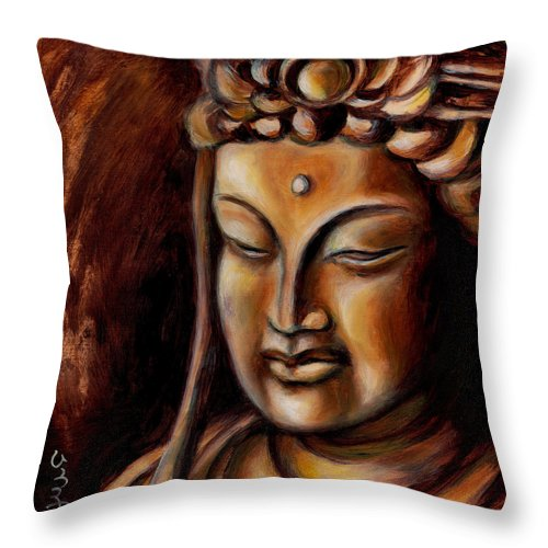 Zen Throw Pillow featuring the painting Face of Mercy No.2 by Hiroko Sakai