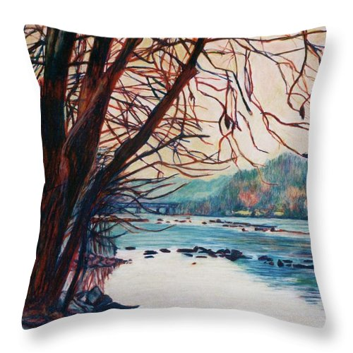New River Throw Pillow featuring the pastel Fall on the New River by Kendall Kessler
