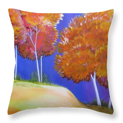 Autum Throw Pillow featuring the painting Fall Trees on Nob Hill by Carol Sabo