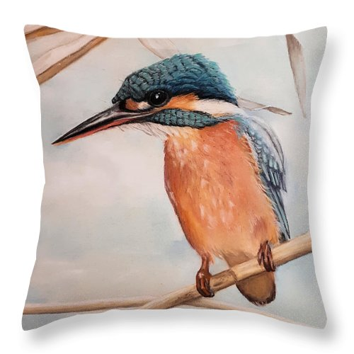 Kingfisher Throw Pillow featuring the painting Favorite Roost by Jacqueline Edwards