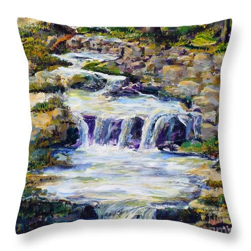Los Angeles Throw Pillow featuring the painting Fern Dell Creek Noon by Randy Sprout