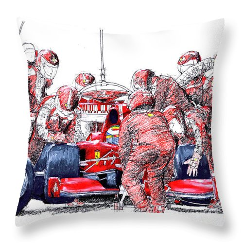 Ferrari Throw Pillow featuring the drawing Ferrari a boxes, pits, Original handmade drawing by Drawspots Illustrations