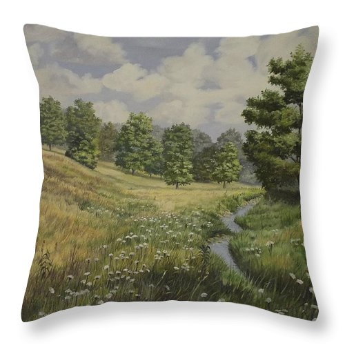 Cloudy Skies Throw Pillow featuring the painting Field And Stream by Wanda Dansereau