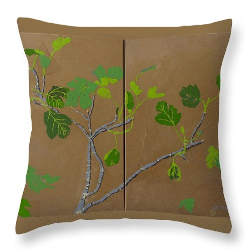 Collage Throw Pillow featuring the painting Figless Figs by Leah Tomaino