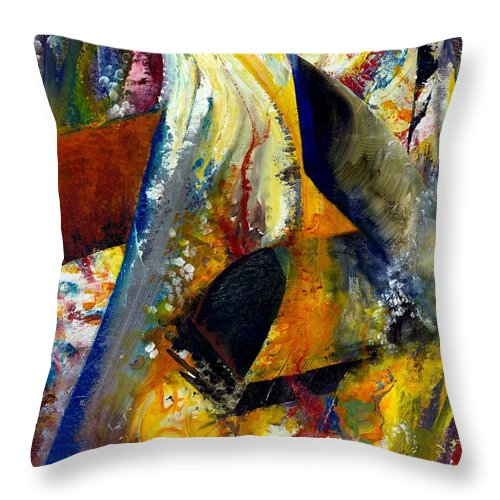 Rustic Throw Pillow featuring the painting Fire Abstract Study by Michelle Calkins