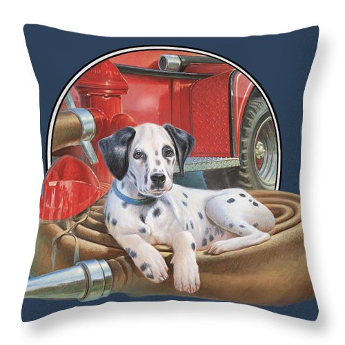 Dalmatian Throw Pillow featuring the painting Fire house Dalmation by Hans Droog