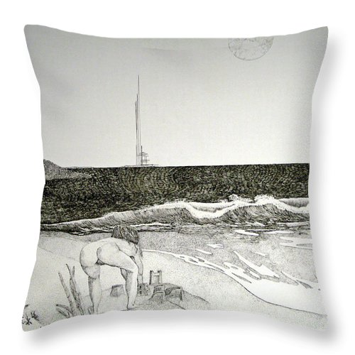 Landscape Throw Pillow featuring the painting First the Sand... by A Robert Malcom