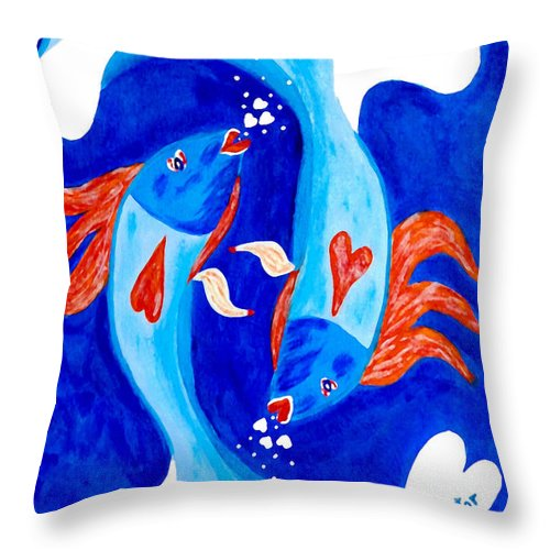 Fish Throw Pillow featuring the painting Fish Love by Donna Proctor