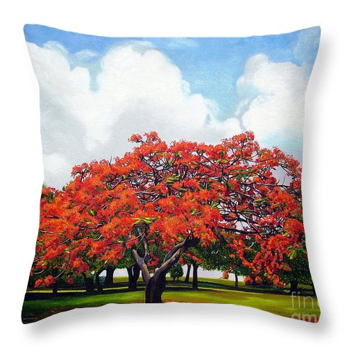 Cuban Art Throw Pillow featuring the painting Flamboyan by Jose Manuel Abraham