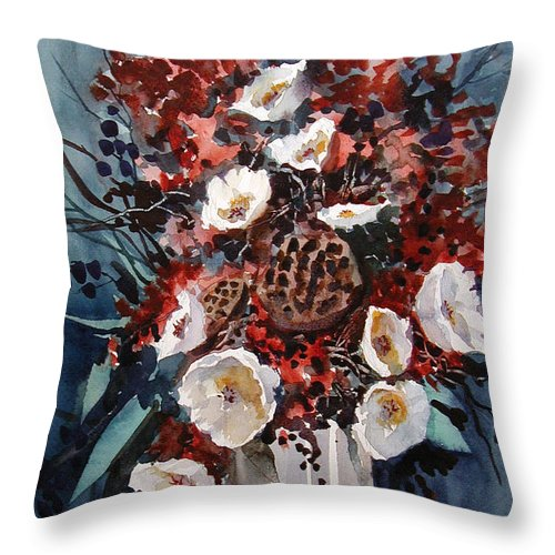 Floral Throw Pillow featuring the painting Floral by Charles Rowland