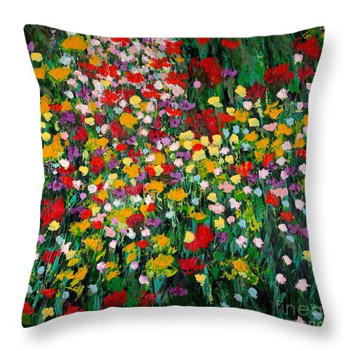 Landscape Throw Pillow featuring the painting Floral Eruption by Allan P Friedlander