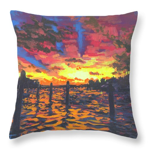 Sunset Throw Pillow featuring the painting Florida Sunset by Allison Fox